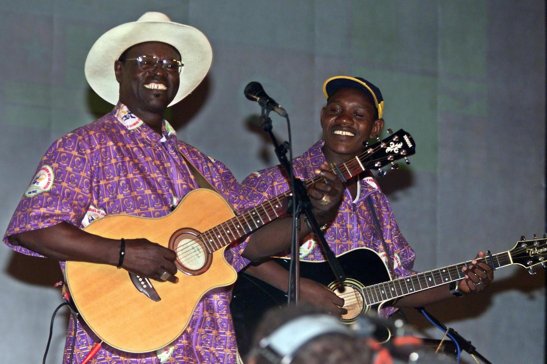 The late Mali's bluesman Ali Farka Toure (left) whom Bamba claims had played at his house when very young. Photo: Seyllou Diallo/AFP